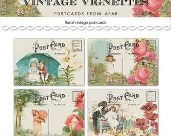 Vintage printable postcards / romantic vignettes of children, flowers, people in love /  digital collage sheet / instant download / cards