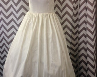 1950's Style Off White Satin and Crinoline Wedding Gown Size 14 Rockabilly