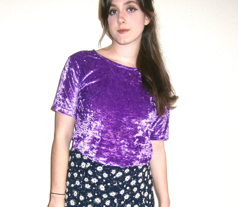 Crushed Velvet Shirt/ 90s Velvet Shirt/ Purple Velvet Shirt/