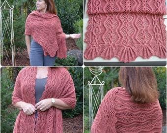 Desert Sands:  Knit Shawl Pattern,  pdf download
