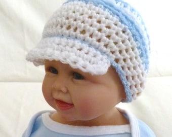 Newsboy Hat, Baby Hat, Boy and Girl, Sizes Newborn to 12 months