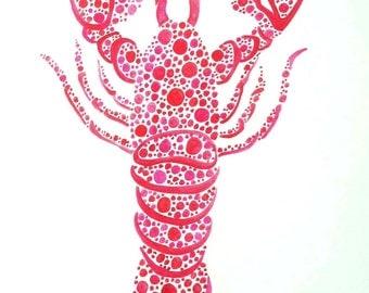Original Lobster Watercolor Painting, Lobster Art, Red Lobster Painting, Nautical Beach Art, Lobster Ocean Art, Maine Lobster, Lobster