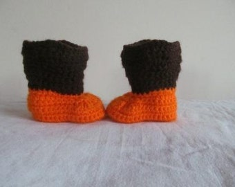 Hand Crocheted Baby Cowboy or Cowgirl Boots in Fall Colors Size 0-3 Months - NEW DESIGN