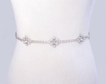 Bridal Belt, Crystal Rhinestone Wedding Dress Sash, 35 Satin Ribbon Color Options / Ivory / White / Black / Blue / Pink / Chamgagne / Gray