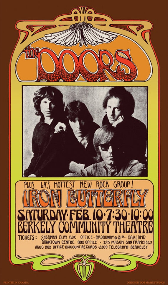 The Doors with Iron Butterfly 1960s art nouveau concert poster