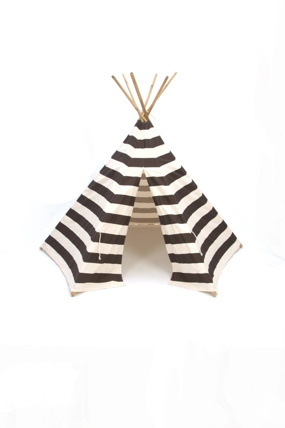 Teepee play tent bamboo poles included chocolate brown and