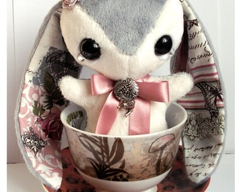 Rabbit Plush - Cute Stuffed Animal Plushie - Grey White and Pink Bunny - Vintage French Inspired