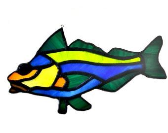 Stained glass fish salmon suncatcher, window ornament, hanging home decor green blue orange colourcolourur