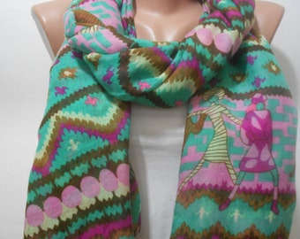 Tribal Scarf Green Scarf Shawl Aztec Cowl Scarf Boho Oversized Scarf Autumn Winter Fall Fashion Accessories Christmas Gifts For Her For Mom