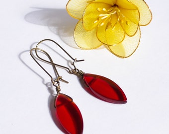 Oval Marquis Red Glass Drop Earrings