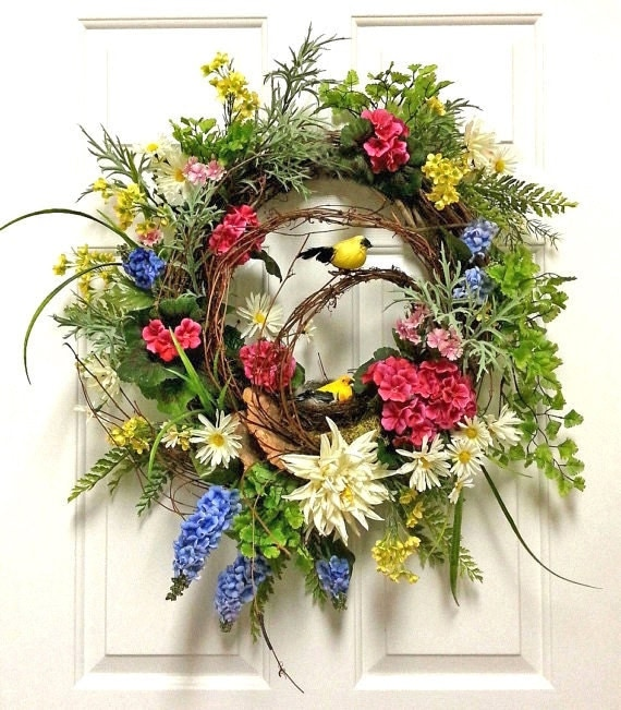 Spring Wreath Silk Floral Wreath Front Door Wreath Spring