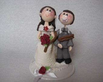 Wedding cake topper, custom wedding cake topper, tiny groom tied up by bride