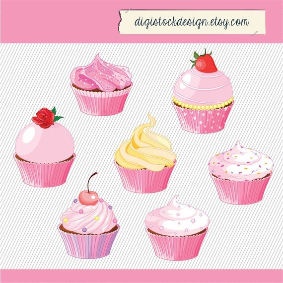 Pink Cupcake Clipart Food Illustration Cupcakes Clipart