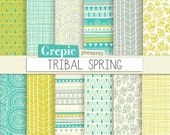 "Tribal digital paper: ""TRIBAL SPRING"" with tribal patterns and tribal backgrounds in fresh green, yellow, gray and white colors"