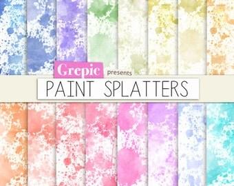 """Paint splatter digital paper: """"PAINT SPLATTERS"""" with rainbow colored splatter painted digital papers suitable for scrapbooking, cards"""
