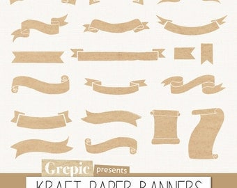 "Kraft paper banners clipart: Digital clipart ""KRAFT PAPER BANNERS"" pack with kraft paper banners, old paper ribbons, beige grunge labels"