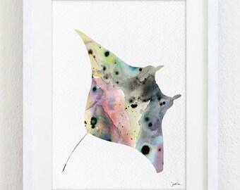 Manta Ray Art Print, Watercolor Painting Reproduction , Minimalist Art Wall Decor-5x7 Prints,Sea Nature-Pink Grey Teal Yellow Art Wall Art