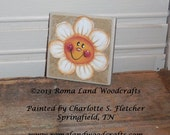 Original Hand painted White Daisy Magnet that is painted on a piece of towel, a simple gift for a good friend or a nice hostess gift