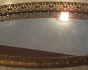 SALE - 1950's Beautiful Gold Gilt Oblong Dresser/Vanity Mirrored Tray