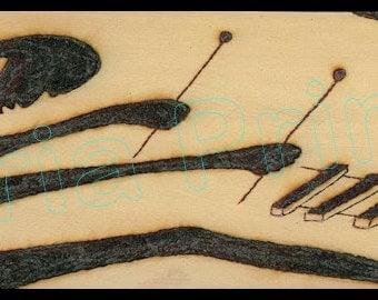 Afro Xylophone-Balafon Player / SOLAR ART - Solar PYROGRAPHY - Woodburned Art / Striking High Resolution Giclée Print