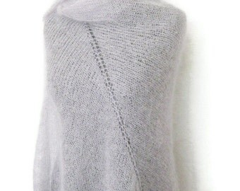 Large mohair scarf, grey minimalist shawl, hand knit, stylish knitwear accessories, gray wrap stole, knitted shawls wraps, lightweight