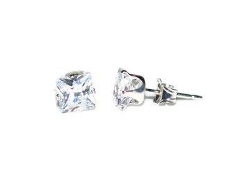 5mm Square Clear Cubic Zirconia CZ Sterling Silver Stud Earrings 5mm - Clear Cubic Zirconia CZ Post-Style Square Sterling Silver Earrings