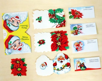 Vintage Holiday Assortment of 4 Folded Gift Cards, 4 Gift Enclosures and 1 Poinsettia Seal