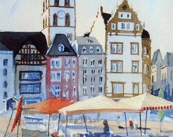 Trier, Germany - Watercolor Limited Ed. print, signed & numbered , painting, art,  European travel,