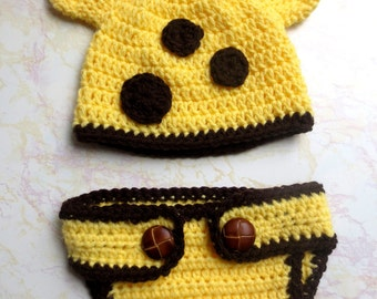 Giraffe Hat and Diaper Cover - Baby Giraffe Photo Prop Set - Newborn Giraffe Hat and Diaper Cover - Giraffe Hat - Newborn Photo Prop outfit