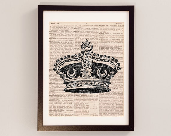 Vintage Crown Print - Royal Crown Art - Print on Vintage Dictionary Paper - British Monarchy - King and Queen Crown