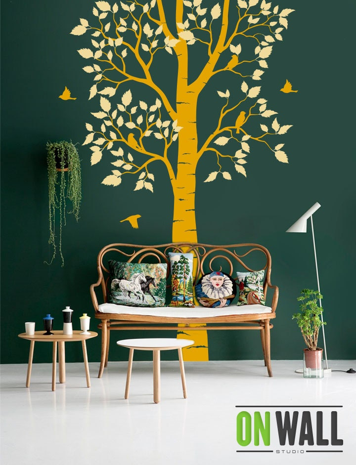 Nature Wall Decor Stickers : Large nature tree wall decal with birds vinyl decals