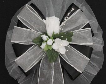 Black White Rosebud Wedding Pew Bows - Church Aisle Bows