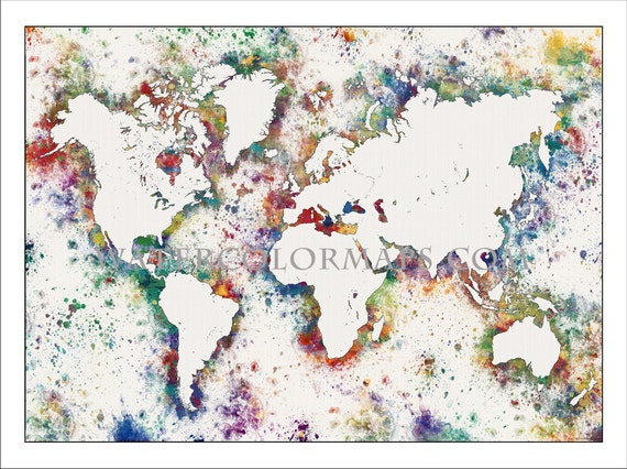 World map map of the world world political map watercolor like this item gumiabroncs Choice Image
