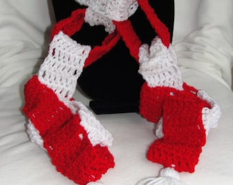 Crochet Christmas Chain Link Scarf*Red & White Scarf**One of a Kind**Handmade*Christmas Gift*Tree Decoration*Gifts Under 25