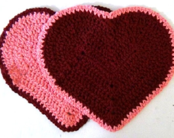 Valentines Day / Mother's Day / Anyday Heart Washcloth - Set of 2 - Pink and Maroon