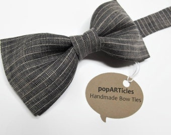 Linen Bow Tie, Handmade Bow Tie, Black and Tan Striped Bow Tie, Men's Bow Tie, Pre-Tied Bow Tie