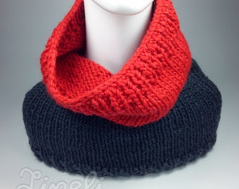 BIG SALE, Knit Scarf, Chunky Knit Cowl, Grаy Red Winter Scarf, Women's Knit Cowl, Winter Accessories, Hand Knit Cowl Scarf, Knitted Scarf