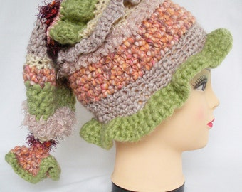 Crocheted elfin hat - pixie hat - great festival hat - ski hat