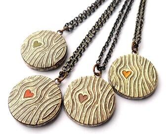Tiny Wood Grain Heart Necklace - Wood You Love Me - Faux Bois