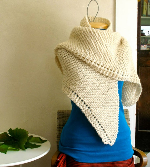 Hand Knit Shawl Alpaca & Cormo with Merino in White Luxurious Bulky Weight