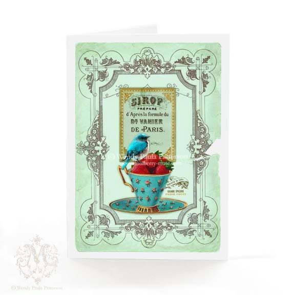 Bird on a teacup card vintage teacup strawberries by ...
