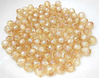 100 Light Brown Faceted Beads acrylic 8mm (H2105)