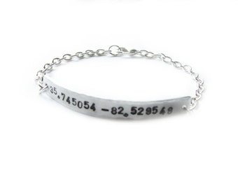 Latitude Longitude cuff Bracelet, Hand Stamped Hammered Silver Plated Chain linked Jewelry wedding birthday GPS Geekery