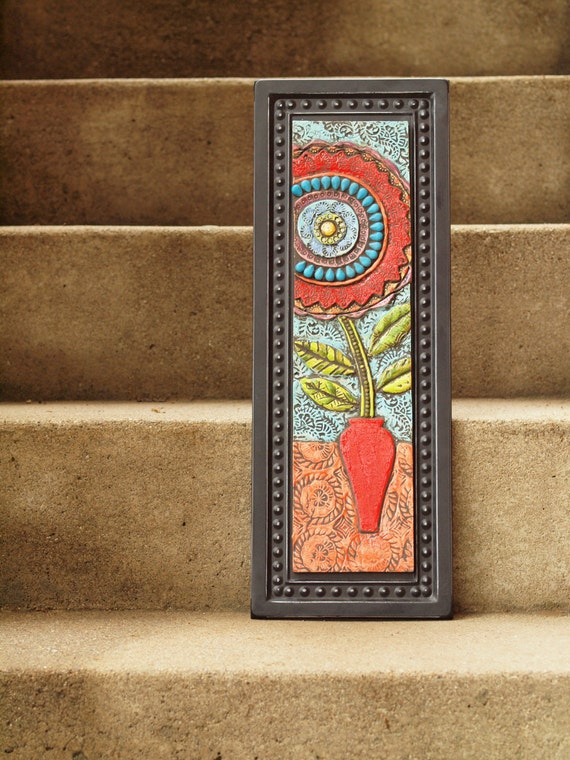 Red Mosaic Wall Decor : Mosaic wall art blossom in red vase clay tile by romyandclare
