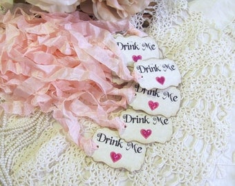 Drink Me Tags Alice Party Favor Tags with ribbons - Pink Sparkle Hearts - Set of 18 - Baby Bridal Shower Mad Tea Party Unbirthday