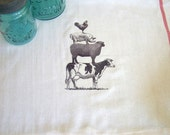 Farm Animals Rooster Pig Sheep Cow Kitchen Towel