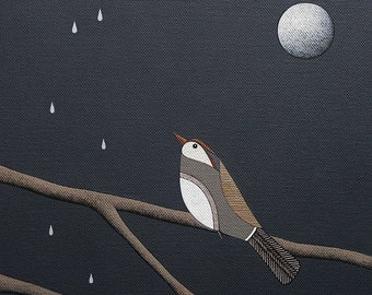 Watching The Rain - Archival 8x8 Art Print - Contemporary Bird Painting - Night Sky, Moon - by Natasha Newton