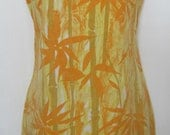 Vintage Summer Dress, 1960s Sleeveless, Ruffle Neck Dress in Yellow and Orange Bamboo Print Cotton