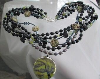 IN EARNEST Necklace With Porcelain Pendant, Freshwater Pearls, Blue Topaz, Moonstone, Peridot, Jasper, Fluorite & Sterling Silver OOAK