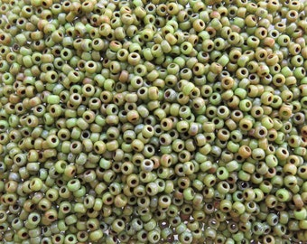 8/0 Opaque Chartreuse Picasso MIYUKI Glass Seed Beads 10 Grams (8JDS5)